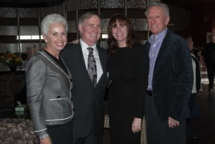 Mary Drake, Jeff Patrick, Trulette Clayes and Hudson Drake at the re-naming dedication of the Joseph Clayes III great room at San Diego's Ronald McDonald House. Courtesy