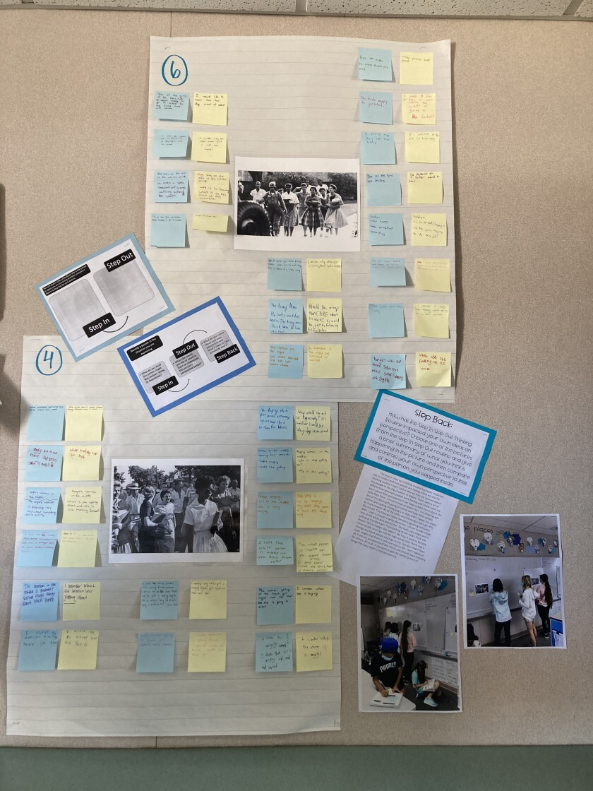 Students reflected on images of the Little Rock Nine.