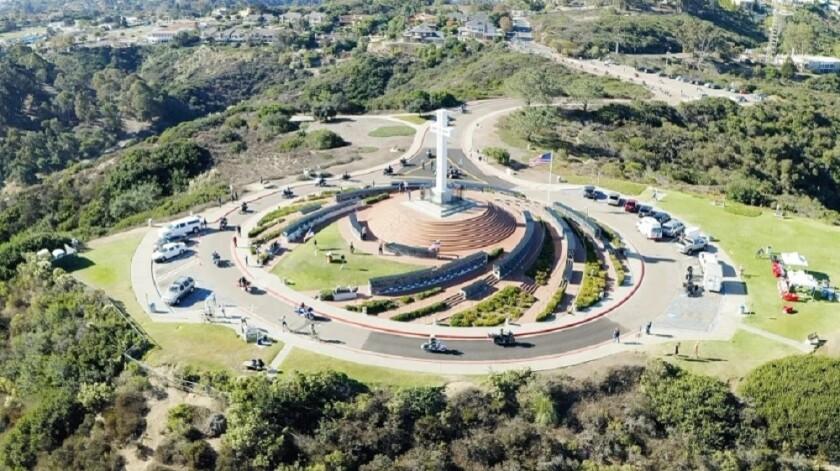 Orange Coast Harley Owners Group riders arrive at the Mount Soledad National Veterans Memorial in La Jolla last year.