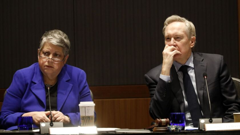 WESTWOOD, CA - MARCH 13, 2019 ? UC President Janet Napolitano and Regent George Kieffer listen to st