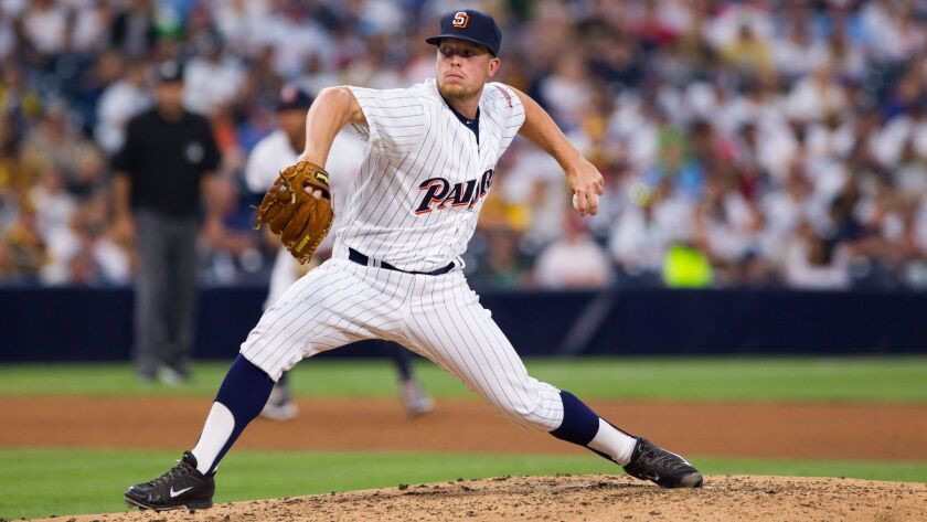 Padres pitcher Buddy Baumann takes the mound after Paul Clemens was taken out.