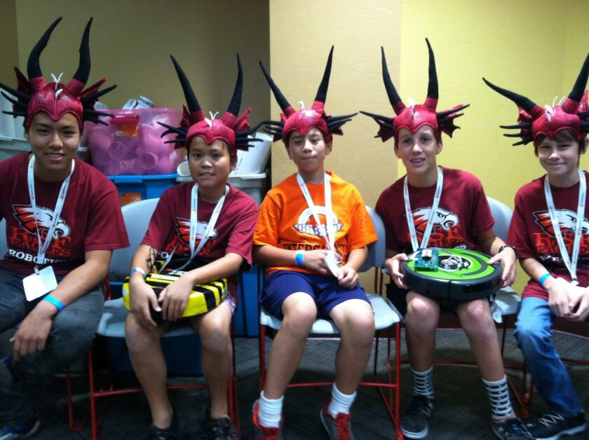 RSF Eagles-Intergalactic Dragons robotics team, L-R: Justin Yu, Lucas Luwa, Daniel Scuba, James Busby and DJ Nelson of the Eagles-Intergalactic Dragons robotics team of R. Roger Rowe Middle School. Courtesy photo