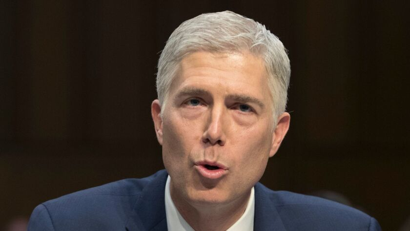 Neil Gorsuch testifies before the Senate Judiciary Committee during his Supreme Court confirmation hearing on Capitol Hill on March 20.