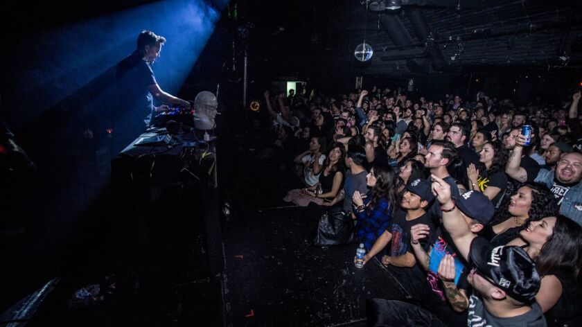 The crowd at Taking Back Tuesday, a DJ-driven club night for pop-punk and emo at Echoplex in Echo Park. Echoplex is one of several properties acquired by Live Nation this year.