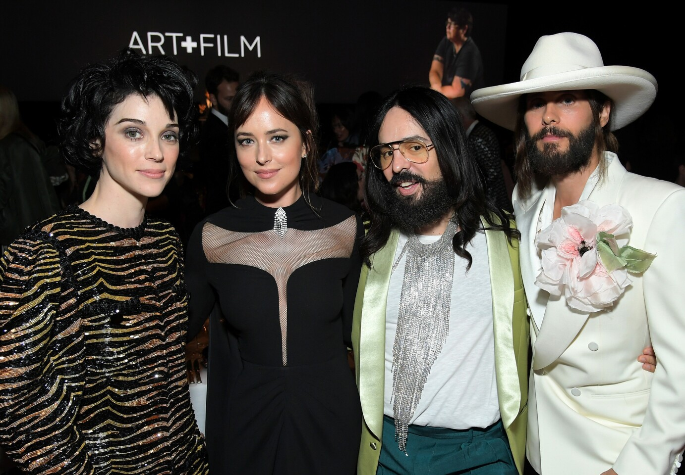 St. Vincent, from left, Dakota Johnson, Gucci Creative Director Alessandro Michele and Jared Leto -- all in Gucci -- at the 2018 LACMA Art+Film Gala honoring Catherine Opie and Guillermo del Toro on Nov. 3.