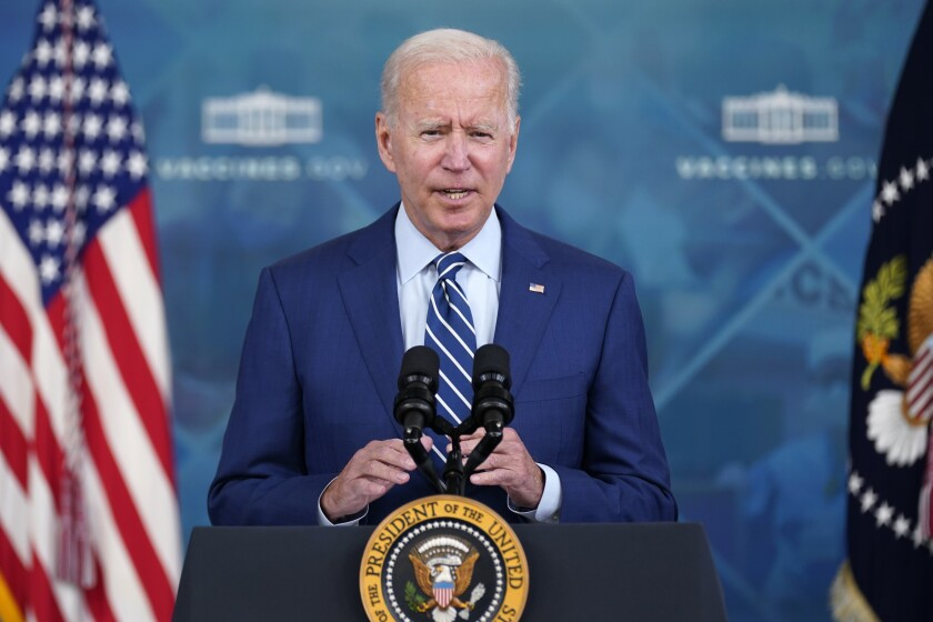 President Joe Biden delivers remarks on COVID-19 during an event in the South Court Auditorium on the White House campus, Monday, Sept. 27, 2021, in Washington. (AP Photo/Evan Vucci)