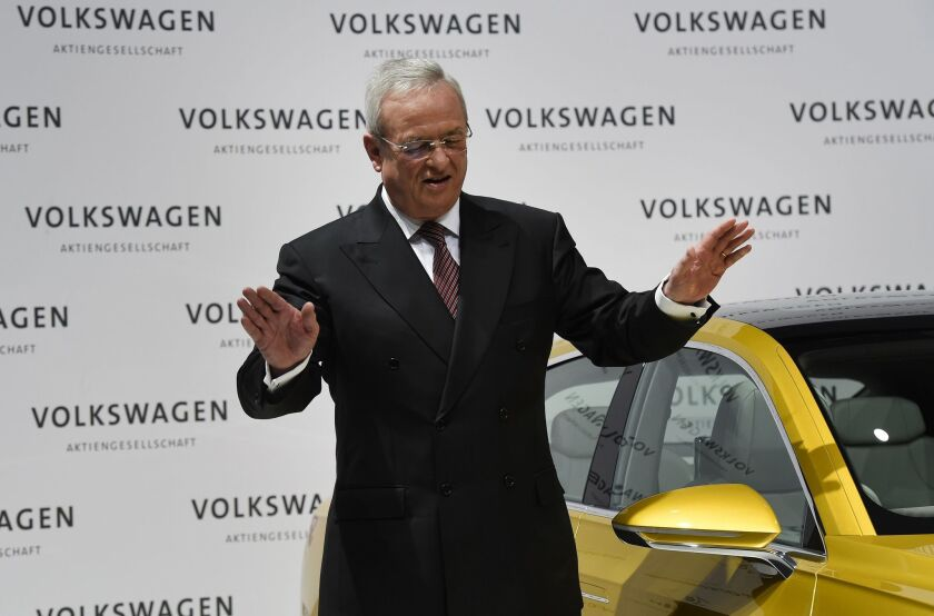 Martin Winterkorn, Volkswagen's now-former CEO, at the comany's annual press conference in Berlin in March.