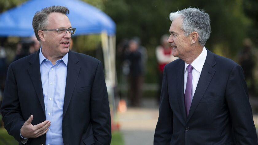 John Williams, left, President and CEO of the Federal Reserve Bank of New York, left, and Jerome Pow
