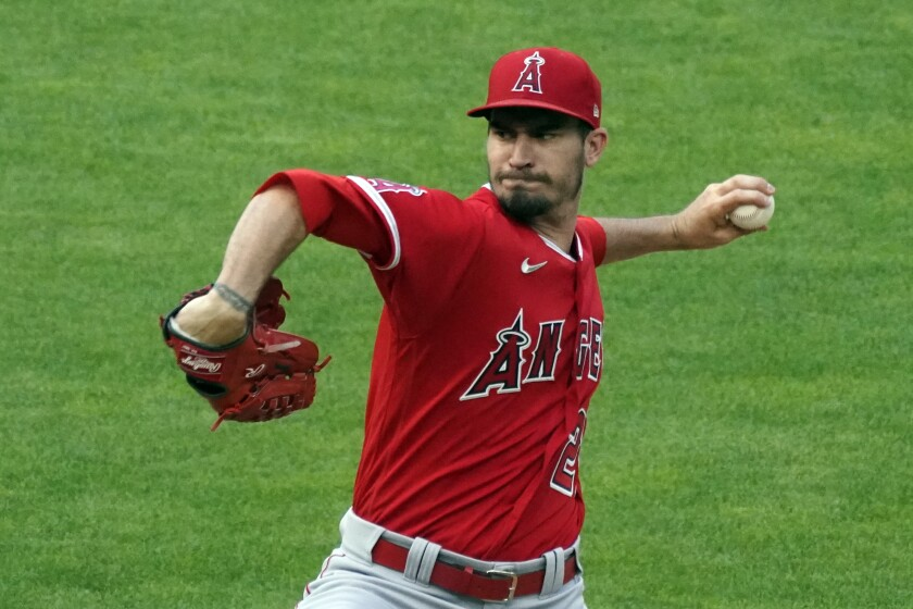 The Angels' Andrew Heaney prepares to throw the ball.