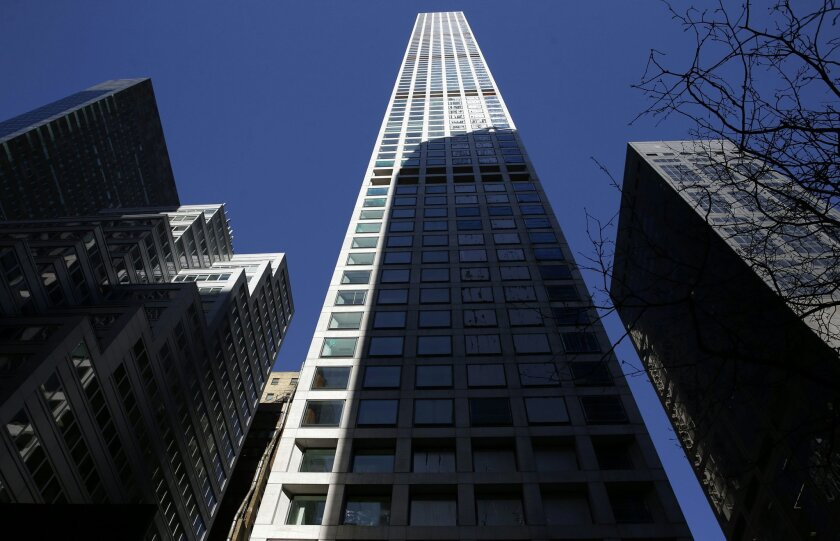 A building at 432 Park Avenue is still under construction in Manhattan, New York, Thursday, Feb. 18, 2016. The last few years have seen the rise of the supertall, a building standing more than 300 meters high.  (AP Photo/Seth Wenig)