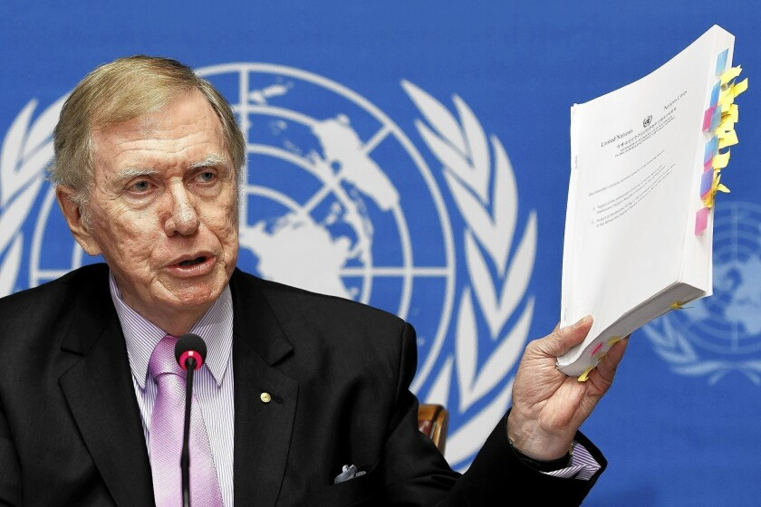 """""""I hope the international community will be moved by the detail [in this report]. Too many times in this building, there are reports and no action,"""" said Michael Kirby, chairman of the U.N. Commission of Inquiry on Human Rights in North Korea, speaking at U.N. headquarters in Geneva."""