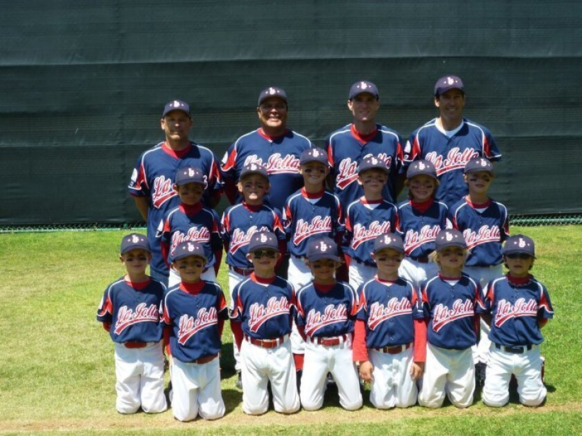 La Jolla's Pinto-7 team: Top row (left to right): Coach Larry Deatherage, Manager Michael Solis, Coach Ron Crater, Coach John Dobak. Middle row: Jacob Campagna, Olen Dobak, Kevin Steel, Nathan Kirn, Julian Solis, Ethan Kjos. Front row Alex Goldman, Nate Crater, John Hartford, Binks Deatherage, Austin Bale, Beau Brown, Jamil Labra. Not pictured: Landyn McKeown