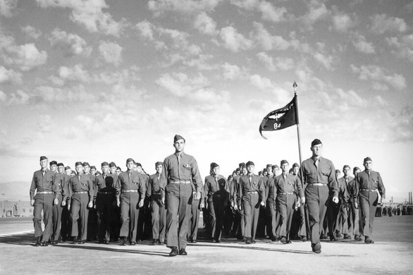 A group from the Santa Ana Army Air Base, pictured here during World War II, marches on. As a pre-flight training base for pilots, navigators and bombardiers, the base accepted nearly 200,000 cadets during 1942-1944.