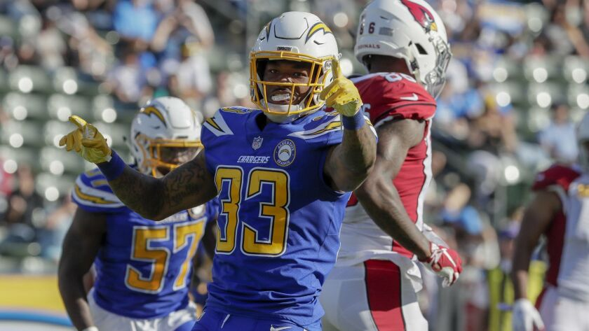 Chargers fans miss celebrations like this one by safety Derwin James, currently sidelined with a foot injury.