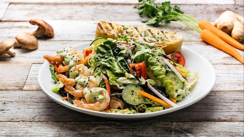 Ginger and Garlic Shrimp Salad