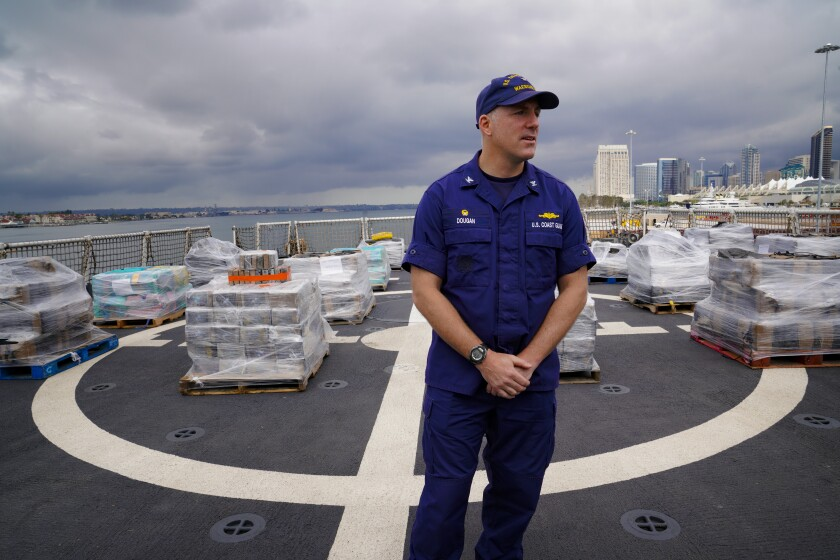 Cpt. Patrick J. Dougan, the CO of the U.S. Coast Guard Cutter, Waesche (WMSL 751) is docked at Tenth Avenue Marine Terminal in San Diego to off load more than 14,300 pounds of cocaine seized in international waters off the Eastern Pacific Ocean.