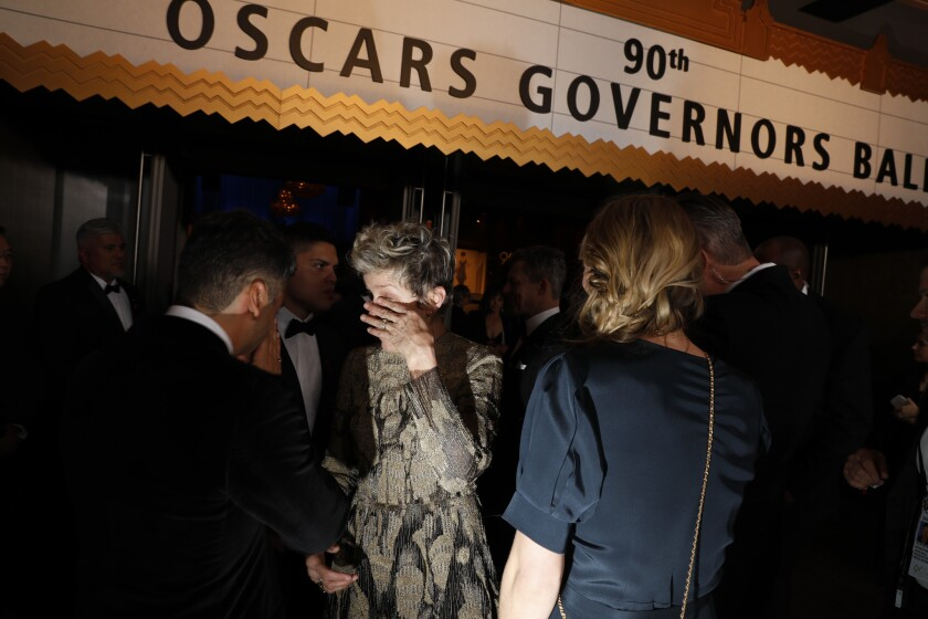 A distraught Frances McDormand at the Governors Ball after the 90th Academy Awards.
