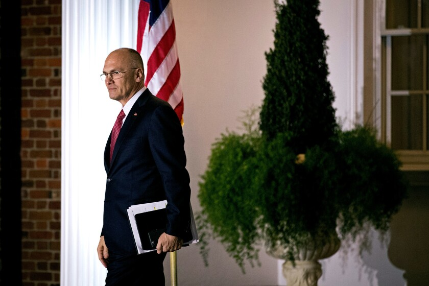 Andrew Puzder, chief executive of CKE Restaurants, exits after his meeting with president-elect Donald Trump at Trump International Golf Club, November 19, 2016 in Bedminster Township, New Jersey.