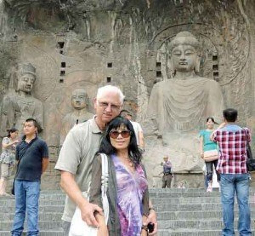 Bob and Cathy Parda in China, at the Longmen Grottoes.