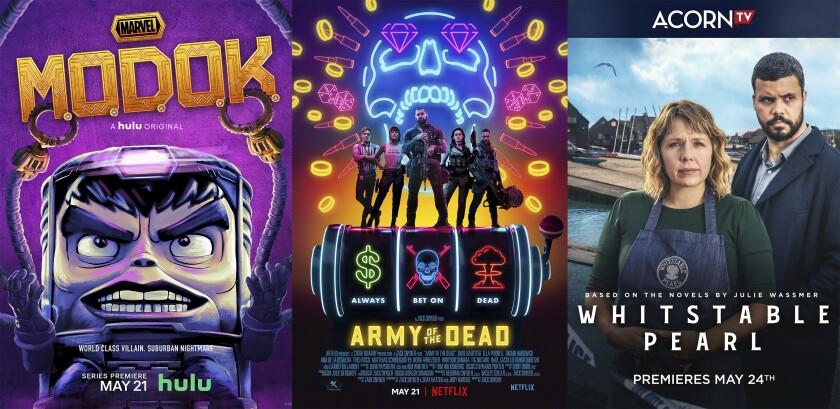 """En esta combinación de fotos, el arte promocional de """"Marvel's M.O.D.O.K."""", que se estrena el 21 de mayo en Hulu; """"Army of the Dead"""", que debuta el 21 de mayo en Netflix, y """"Whitstable Pearl"""", una serie original de Acorn TV que se estrena el 24 de mayo. (Hulu/Netflix/Acorn TV vía AP)"""