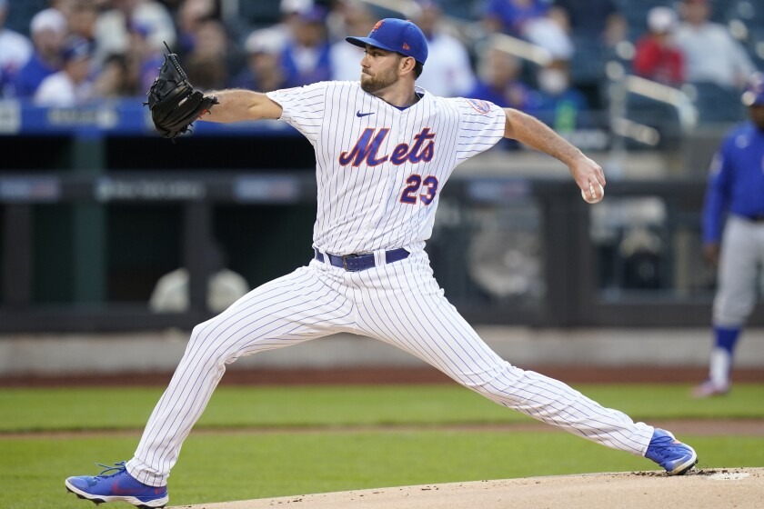 New York Mets' David Peterson (23) delivers a pitch during the first inning a a baseball game against the Chicago Cubs, Monday, June 14, 2021, in New York. (AP Photo/Frank Franklin II)
