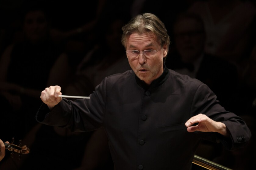 """Esa-Pekka Salonen, pictured last month at Walt Disney Concert Hall, moved to Segerstrom Center for the Arts to conduct the Colburn Orchestra through part of Wagner's """"Ring."""""""