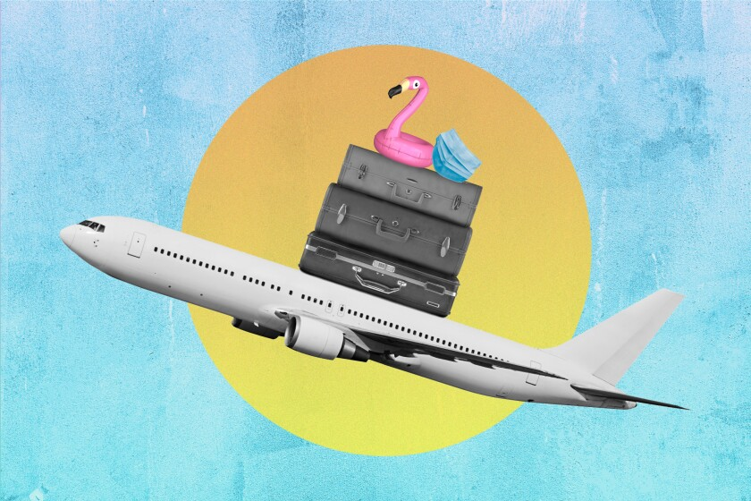 Illustration of a jet piled with suitcases, a flamingo pool float and a protective mask.