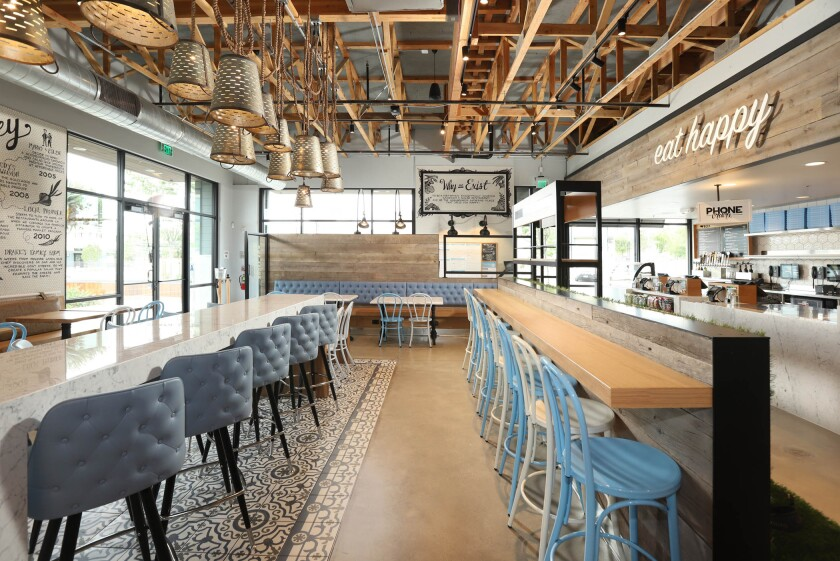 The dining room at Mendocino Farms, which opens June 6 in the Square at Bressi Ranch center in Carlsbad. It is the Studio City-based company's third location in San Diego County.