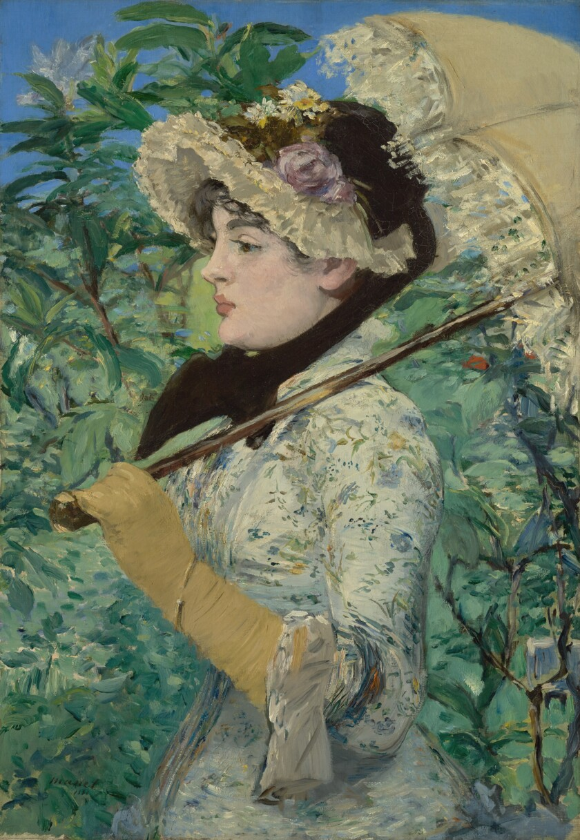 "Edouard Manet's 1881 painting ""Spring"" is among the pieces on display in a survey of the artist's works at the Getty."