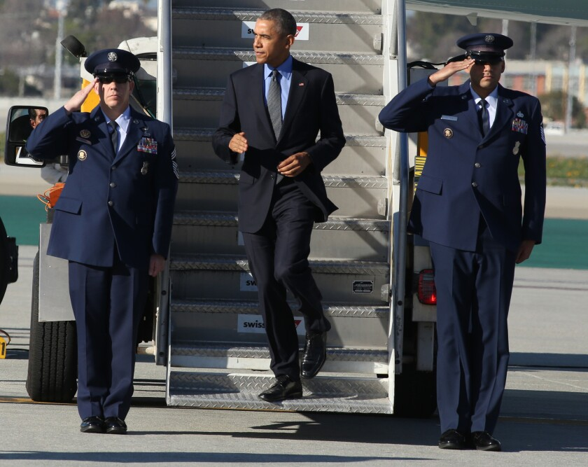 President Obama arrives on Air Force One at Los Angeles International Airport in February 2016.
