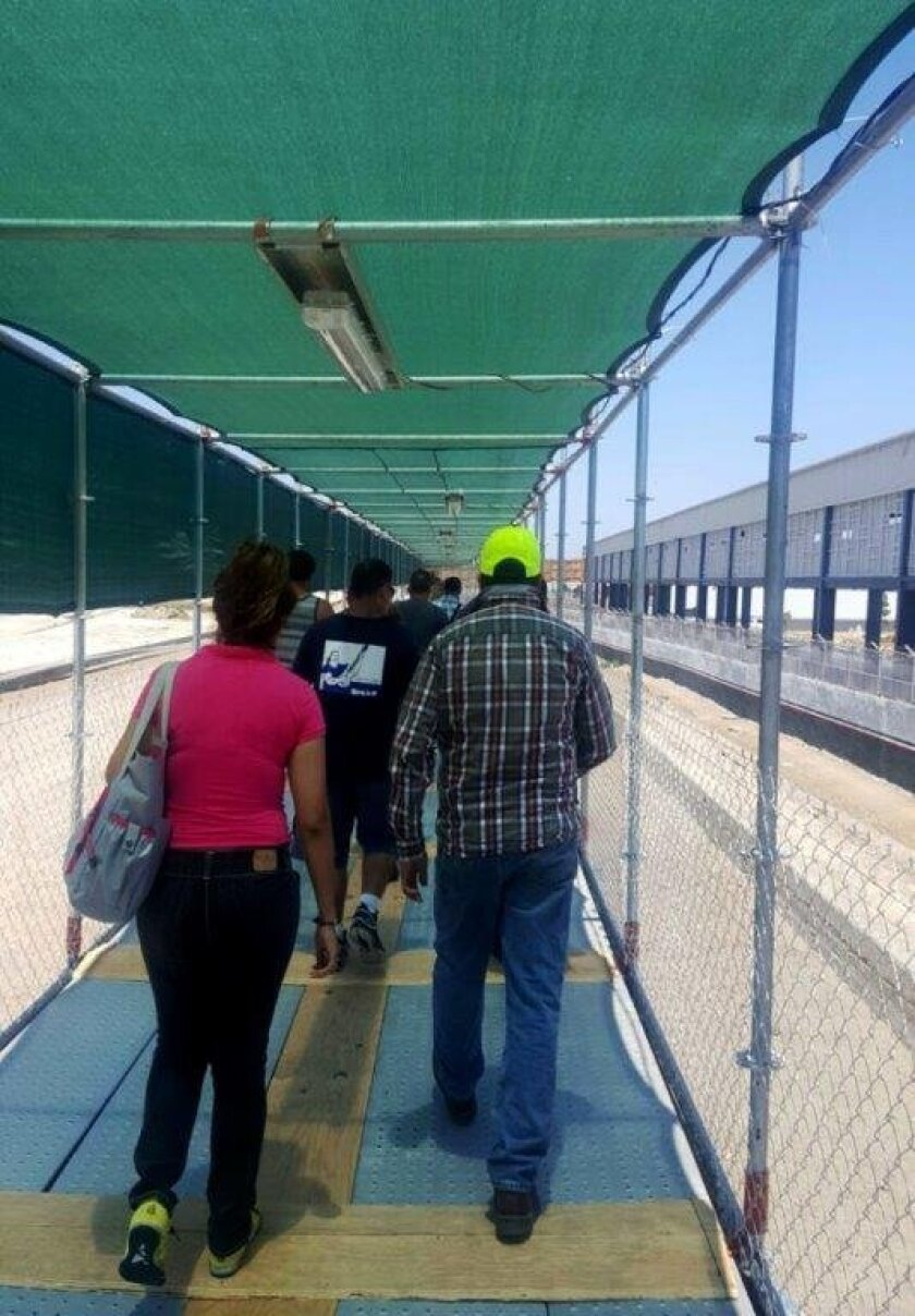 Pedestrians in Tijuana walk toward PedWest on a provisional structure leading to U.S. border at Mexico's El Chaparral Port of Entry.
