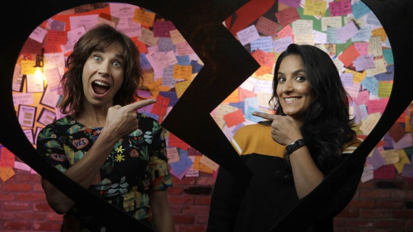 "Jackie van Beek, left, and Madeleine Sami wrote, directed and star in the unconventional rom-com ""The Breaker Upperers."""
