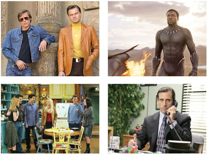 """Clockwise from top left, """"Once Upon a Time ... in Hollywood,"""" """"Black Panther,"""" """"The Office"""" and """"Friends"""" are all huge hits despite themes that raise eyebrows."""