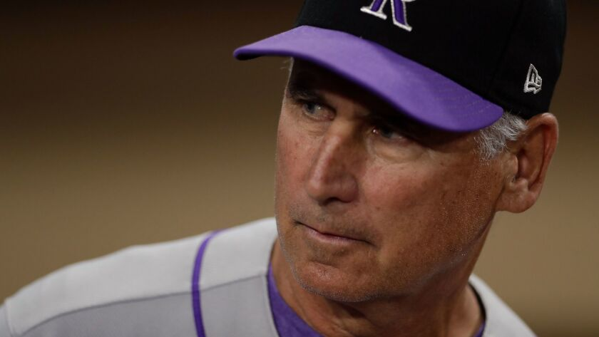 Colorado Rockies manager Bud Black looks on before a baseball game against the San Diego Padres Thur