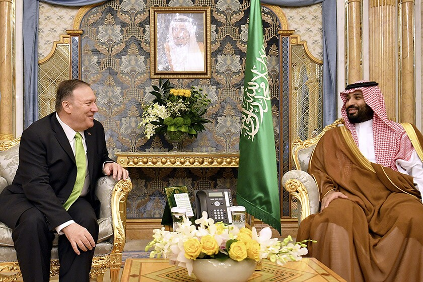 U.S. Secretary of State Michael R. Pompeo meets with Saudi Arabian Crown Prince Mohammed bin Salman in Jidda, Saudi Arabia, on Wednesday.