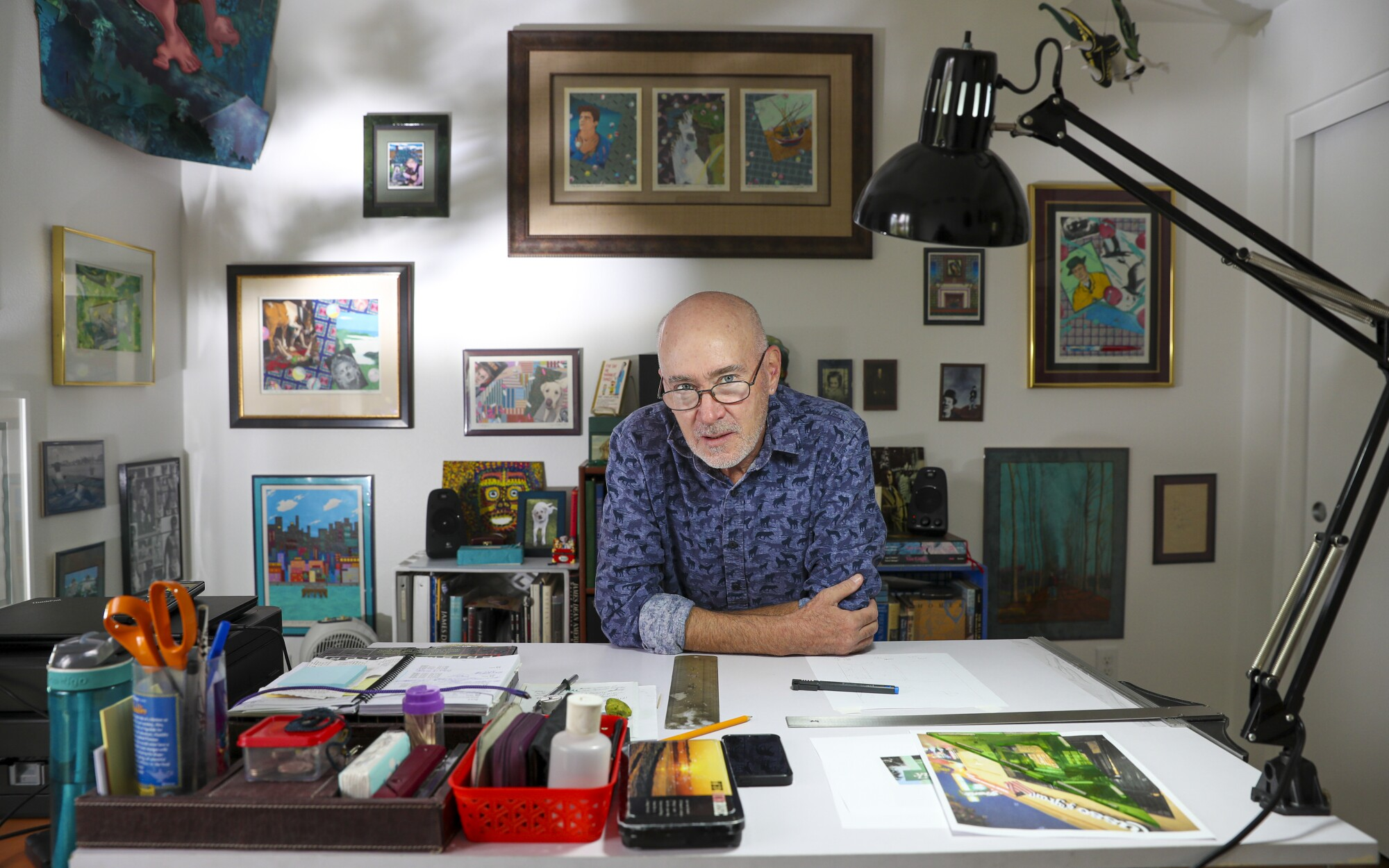 Terrance Whitten in his studio at his new apartment in Los Angeles.