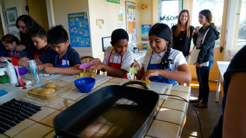 Students from Lincoln Acres help cut cauliflower and potatoes during a class at the Olivewood Garden