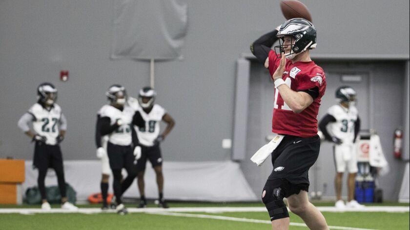 Philadelphia Eagles quarterback Carson Wentz throws the ball during an OTA workout Tuesday.