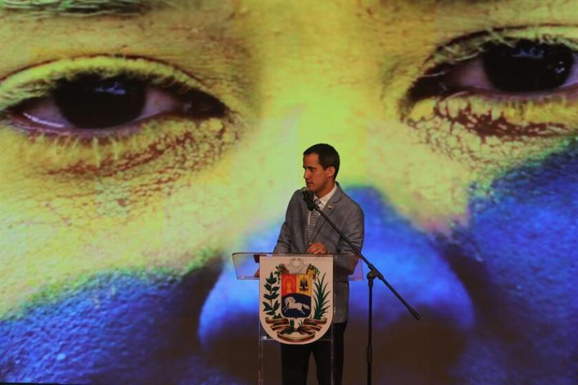 Venezuela's self-proclaimed interim president, Juan Guaido, speaks during an event in Caracas on Feb. 8, 2019, where he said that if the Nicolas Maduro government blocks food and medicines donated by other nations from entering the country, a volunteer force will head for the borders to open a humanitarian corridor. EFE-EPA/Miguel Gutierrez