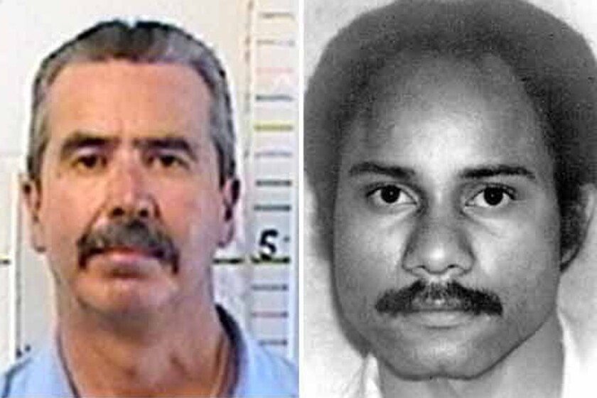 At left is a recent photo of Jesus Cecena, who as a 17-year-old gang member killed San Diego Police Officer Archie Buggs, right, on Nov. 4, 1978.