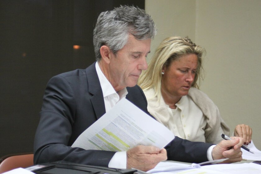 La Jolla Parks & Beaches member Patrick Ahern with bylaw revision suggestions, and new member Cindy Greatrex