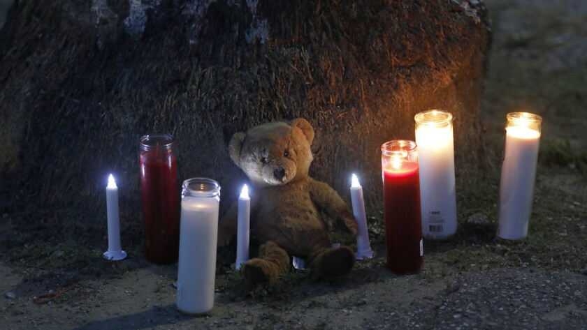 A makeshift memorial has been created in memory of the three-year-old child who was shot and killed Saturday night.