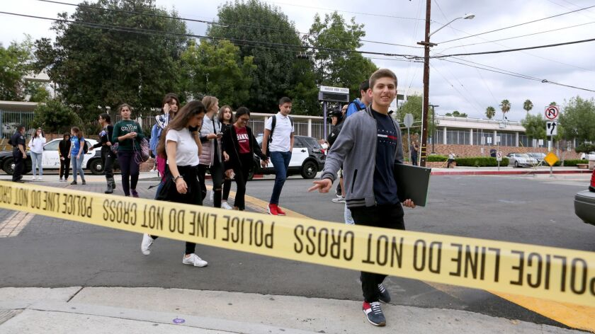 Glendale Police kept an eye out for any trouble as students walked out of school after multiple figh