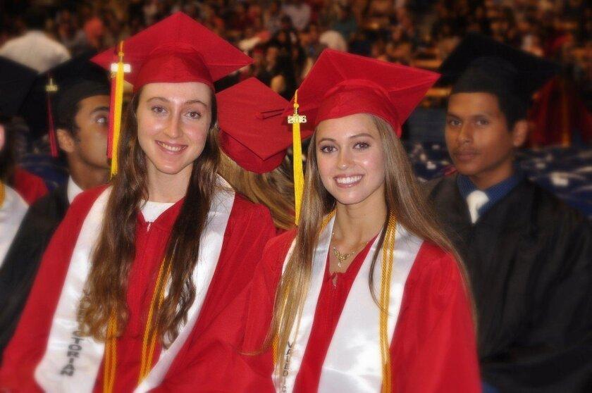 Class Valedictorians Madeleine Randel Gates and Sophia Elaine Eliopulos (La Jolla High School's Class of 2016 graduation ceremony, June 21 at UC San Diego's RIMAC Arena)