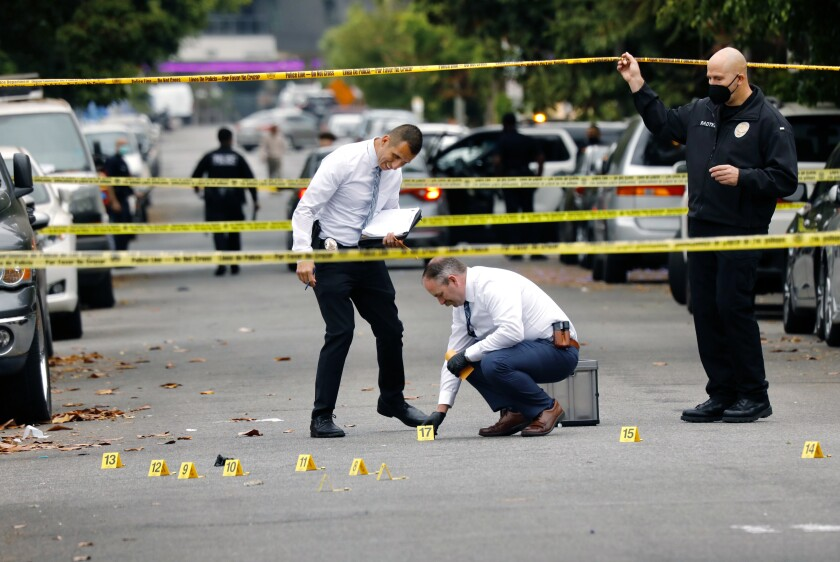 Police investigate a shooting in Hollywood.
