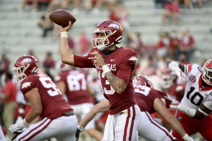 Arkansas quarterback Feleipe Franks throws a pass against Georgia during the second half of an NCAA college football game in Fayetteville, Ark., Saturday, Sept. 26, 2020. (AP Photo/Michael Woods)