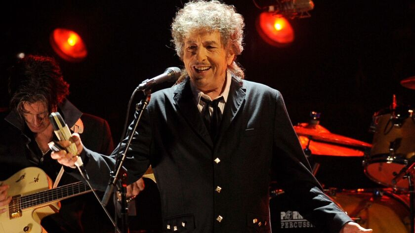 "Bob Dylan, shown in L.A. in 2012, is releasing ""Triplicate,"" a triple album with 30 more songs from the Great American Songbook of pop standards, on March 31."