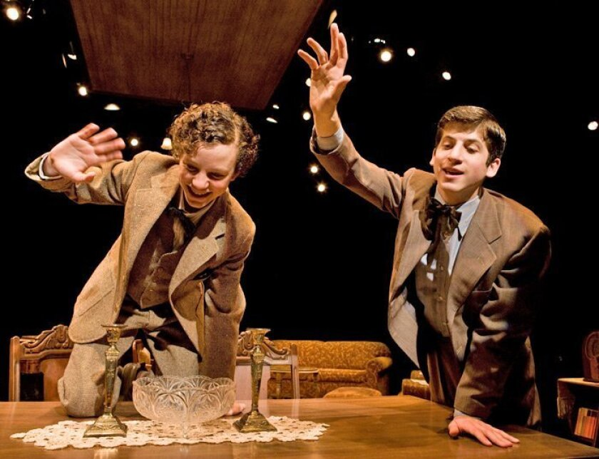 """Austyn Myers (left) as Arty and Steven Kaplan as Jay are brothers exasperated by circumstances in Neil Simon's Pulitzer Prize-winning play """"Lost in Yonkers,"""" at the Old Globe."""