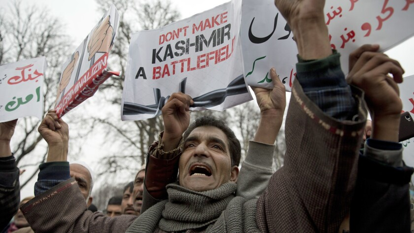 Kashmiri supporters of the People's Democratic Party protest in Srinagar, Indian-controlled Kashmir, on Saturday.