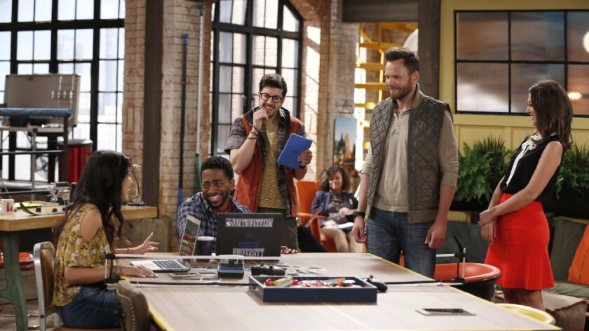 """The Great Indoors' stars Joel McHale, second from right, as an adventure reporter for an outdoors magazine who must adapt to the times when he becomes the boss to a group of millennials (Christine Ko, left, Shaun Brown and Christopher Mintz-Plasse)."